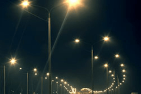 pole lights at a highway