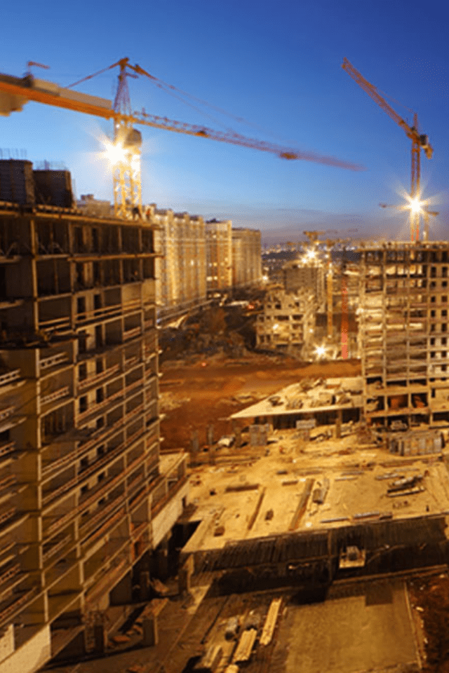 construction sites with cranes